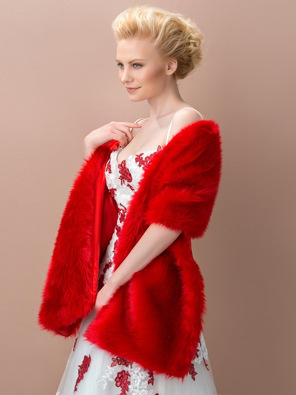 Dazzling Red Fax Fur Wedding Shawl