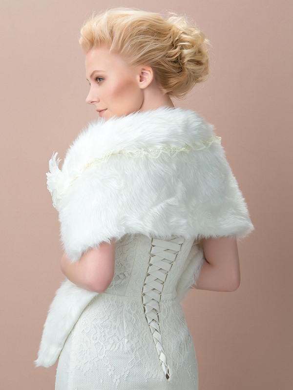 Flower Ivory Fax Fur Wedding Shawl
