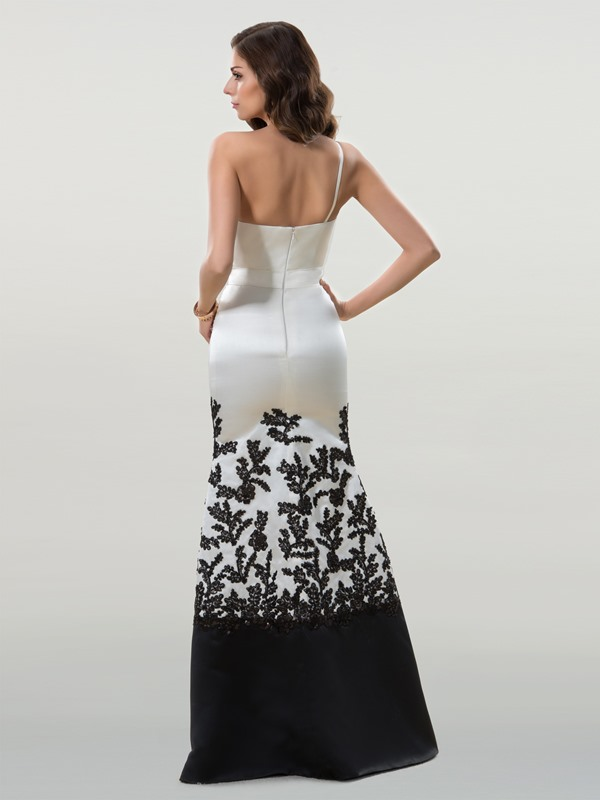 Elegant One Shoulder Trumpet Appliques Floor Length Evening Dress