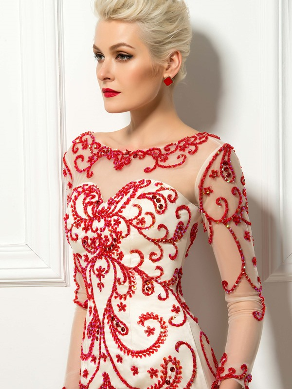 Scoop Beading Embroidery Column Cocktail Dress
