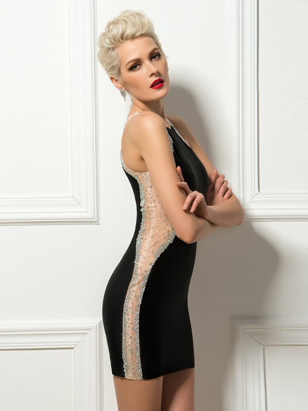 Sensual Sheath Jewel Neck Beading Short Black Cocktail Dress