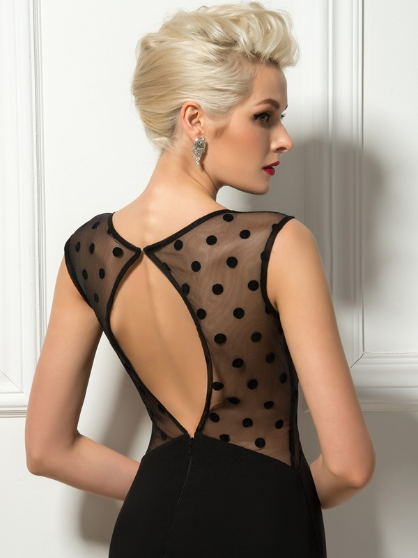 Mysterious Cap Sleeves Sheer Back Sheath Mini Cocktail Dress