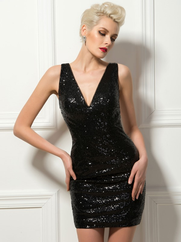 V-Neck Sheer Back Sequins Sheath Short Cocktail Dress