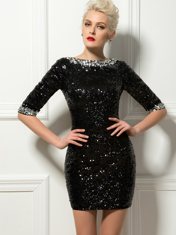 Sheath Bateau Neck Beading Sequins Short Cocktail Dress