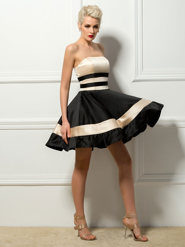 Timeless Contrast Color Strapless A-Line Short Cocktail Dress