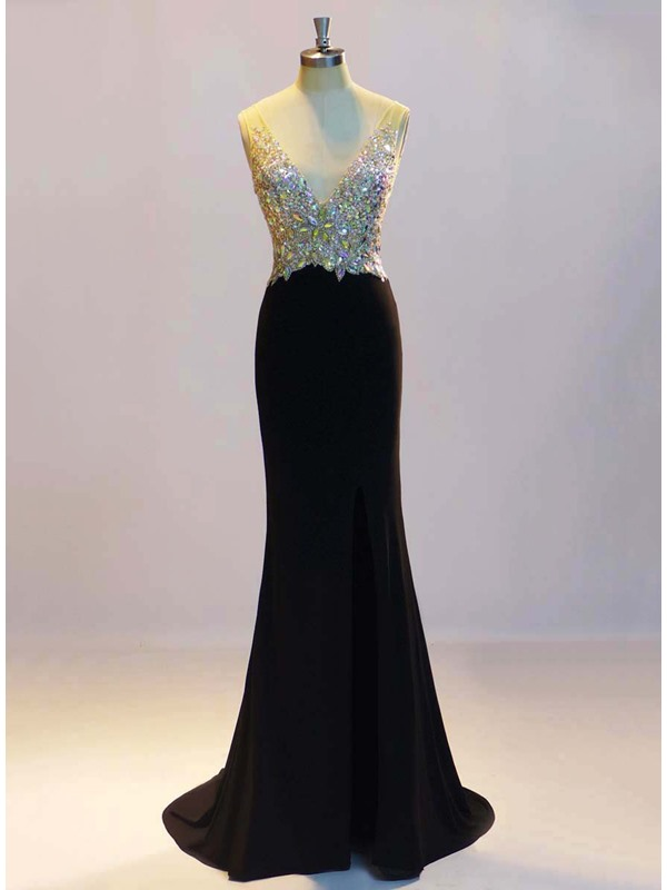 Sparking V-Neck Mermaid Sequins Beading Long Evening Dress