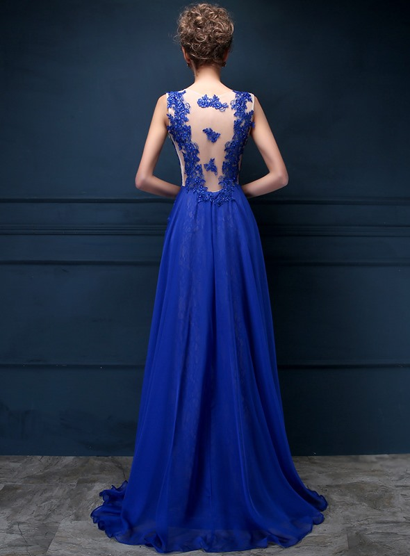 Chic Tulle Neck Appliques Lace Sequins Long Evening Dress(Free Shipping)
