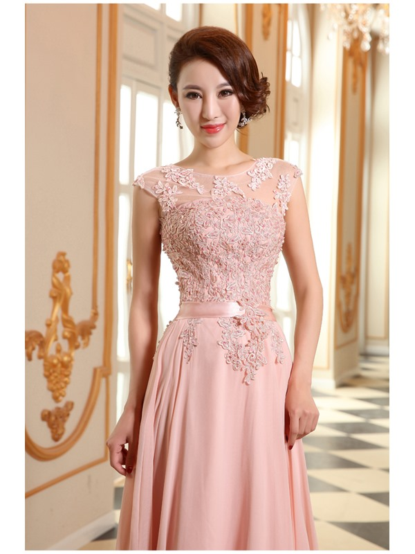 Eye-catching Scoop Appliques Lace-up Floor-Length Prom Dress(Free Shipping)