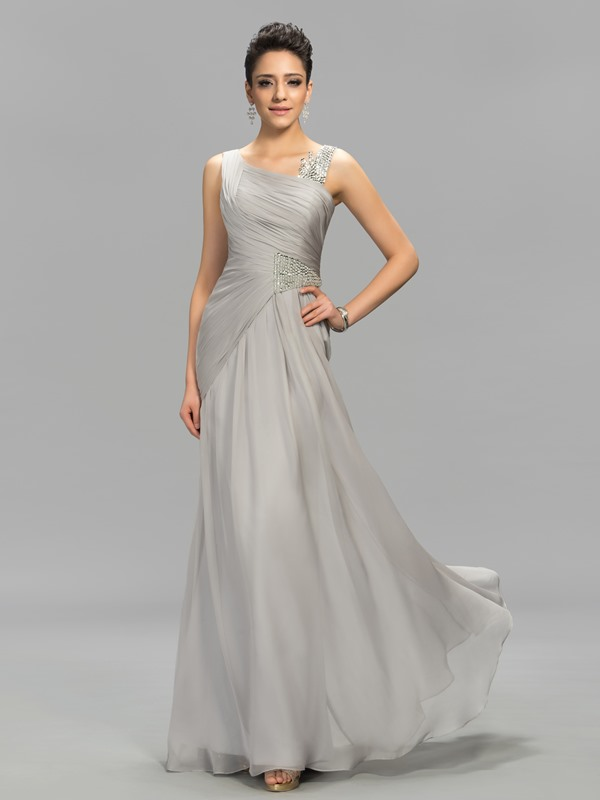 Simple Style Straps Sequins Beading Pleats Long Evening Dress Designed