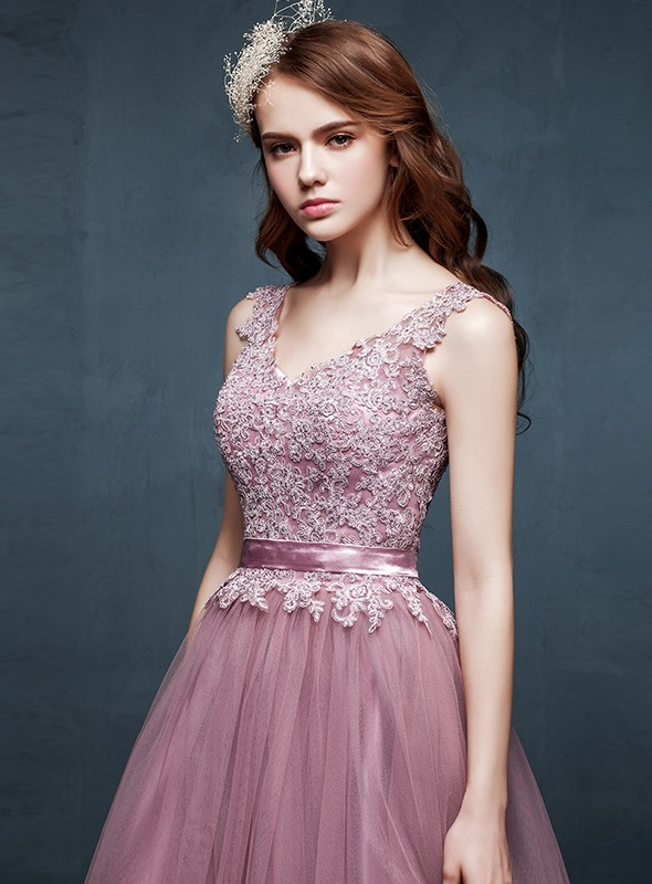 Fancy A-Line V-Neck Appliques Flowers Floor-Length Prom Dress(Free Shipping)