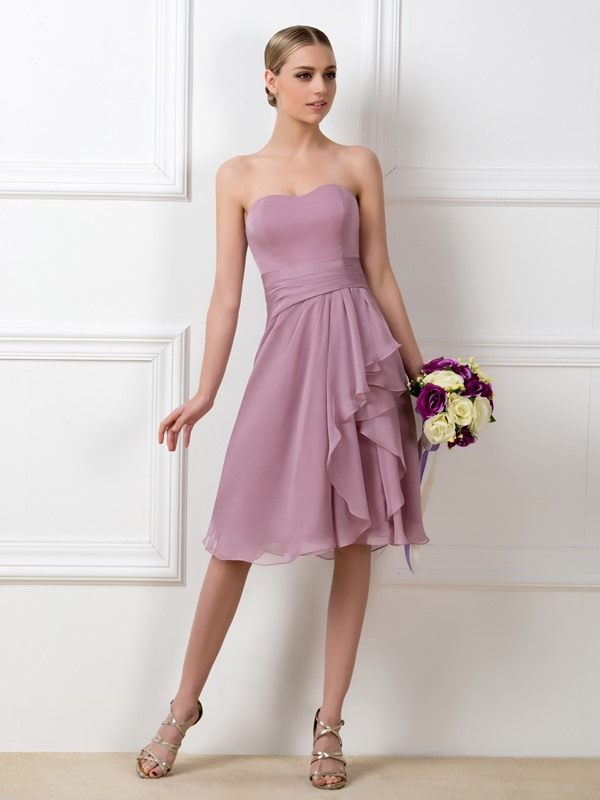 Strapless Sweetheart Knee Length Bridesmaid Dress