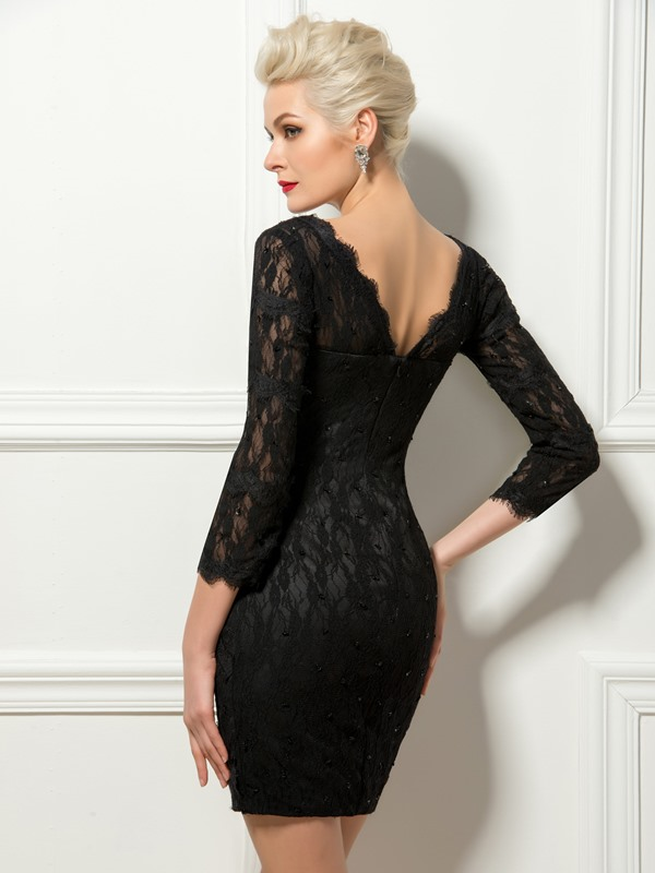 V-Neck Sheath Lace Beading Mini Cocktail Dress