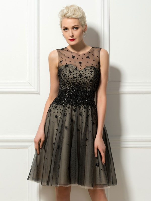 Tulle Neck Sequins Beading A-Line Cocktail Dress