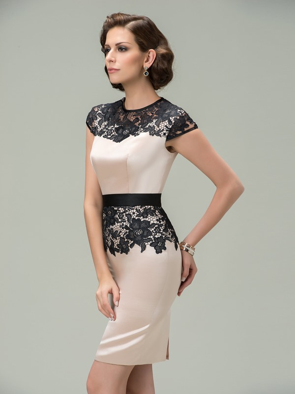 Sheath Jewel Neck Cap Sleeves Lace Short Formal Dress Designed