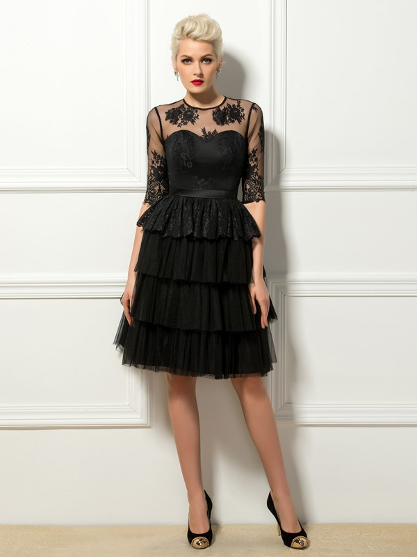 Stunning A-Line Jewel Neck Lace Half Sleeves Knee-Length Cocktail Dress Designed