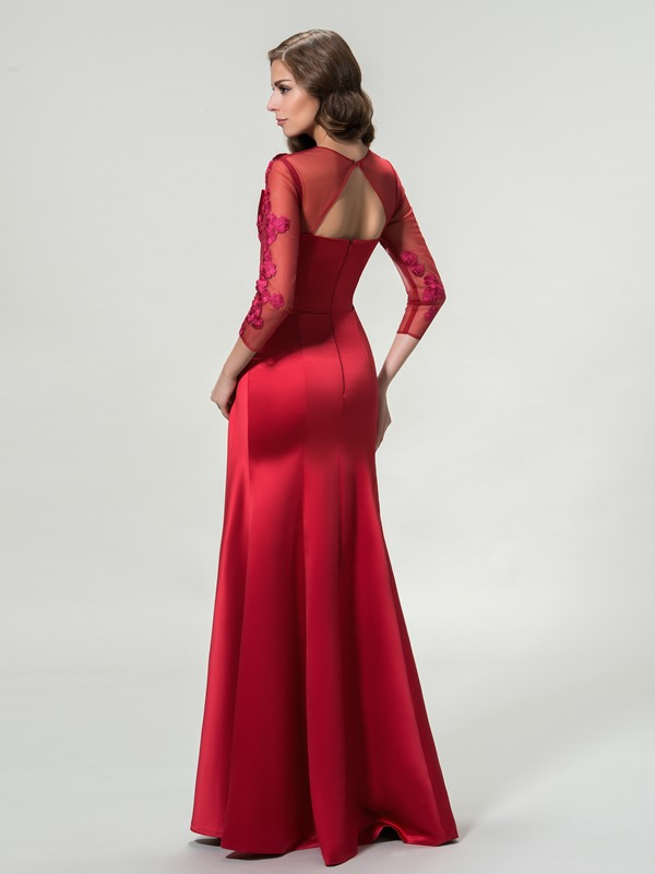 Elegant 3/4 Length Sleeves Appliques Floor-Length Evening Dress Designed