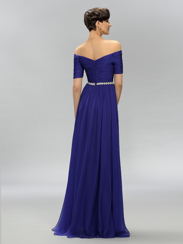 A-Line Off-the-Shoulder Pleats Long Evening Dress(Free Shipping)