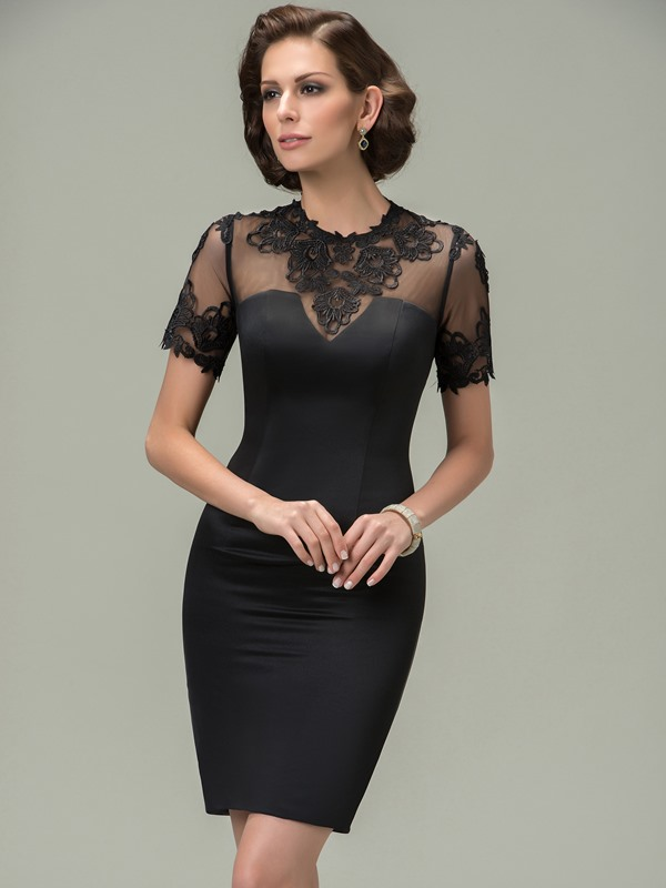 Cool Lace Jewel Neck Short Sleeve Sheath Mother of the Bride Dress
