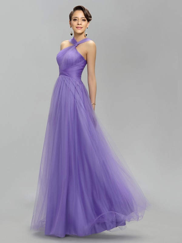 Simple Halter A-Line Pleats Long Prom Dress Designed