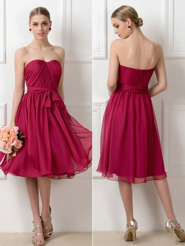 A-Line Tea-Length Convertible Bridesmaid Dress