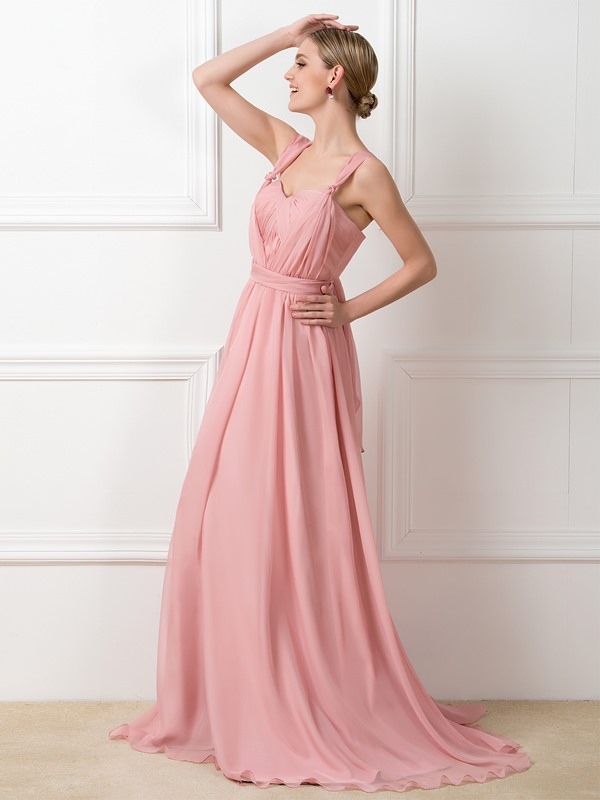 Simple Style Ruched Long Convertible Bridesmaid Dress