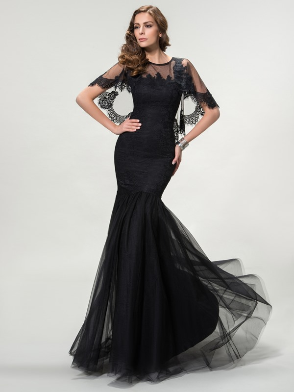 Ladylike Trumpet Jewel Neck Lace Long Evening Dress Designed (Free Shipping)