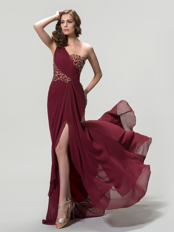 One Shoulder Ruched Sequins Split-Front A-Line Evening Dress