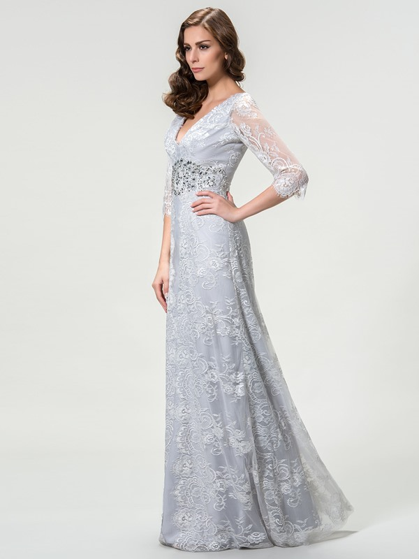 Timeless V-Neck Lace Long Sleeve Mother of the Bride Dress