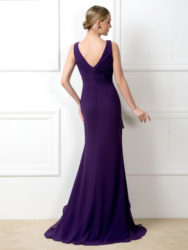 V-Neck Purple Mermaid Long Bridesmaid Dress