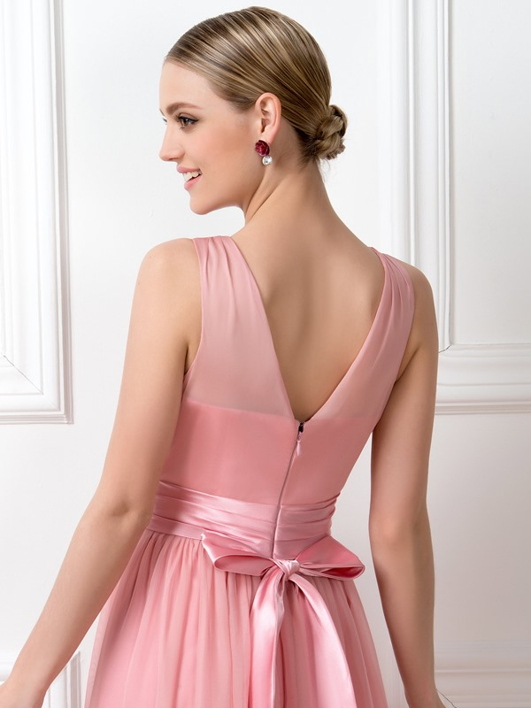 Classic V-Neck Floor-Length Bridesmaid Dress with Sash(Free Shipping)