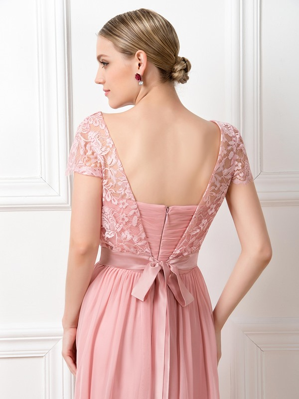 Lace Scoop Neck Short Sleeve Long Bridesmaid Dress(Free Shipping)