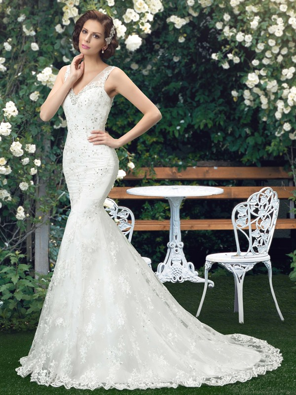 Sensual V-Neck Beaded Lace Mermaid Wedding Dress(Free Shipping)