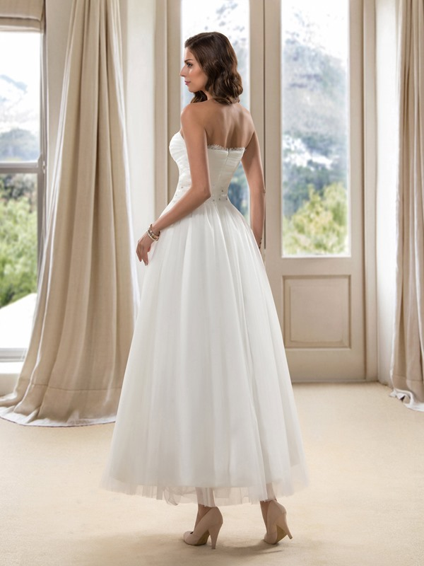 A-Line Ankle-Length Beach Wedding Dress