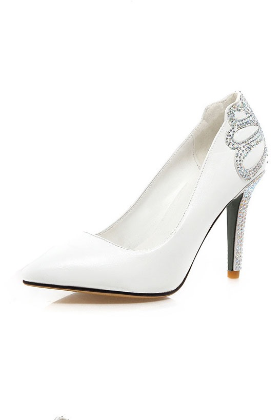 Rhinestone Floral Decorated Pointed Toe Pumps