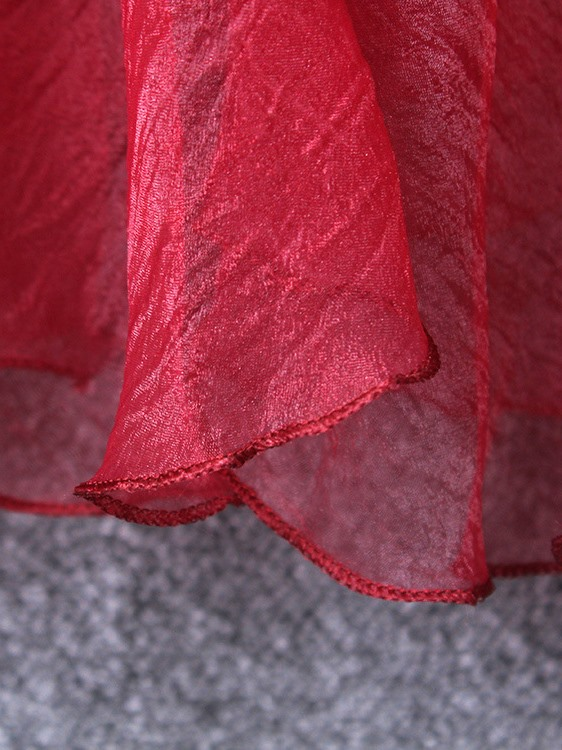 Solid Color Organza High-Waist Skirt