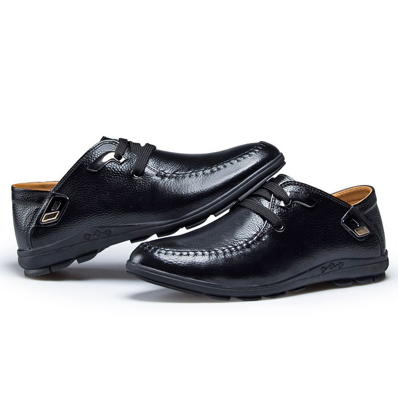 Patetn Leather Plain Quilted Lace-Up Men's Shoes