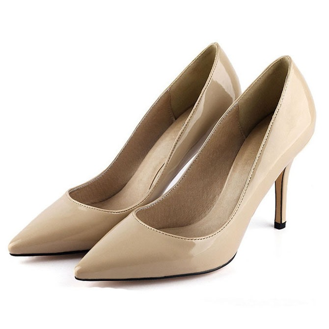 Patent Leather Solid Color Pointed Toe Women's Pumps
