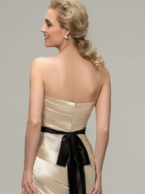 Strapless Ruched Mermaid Bridesmaid Dress with Sash
