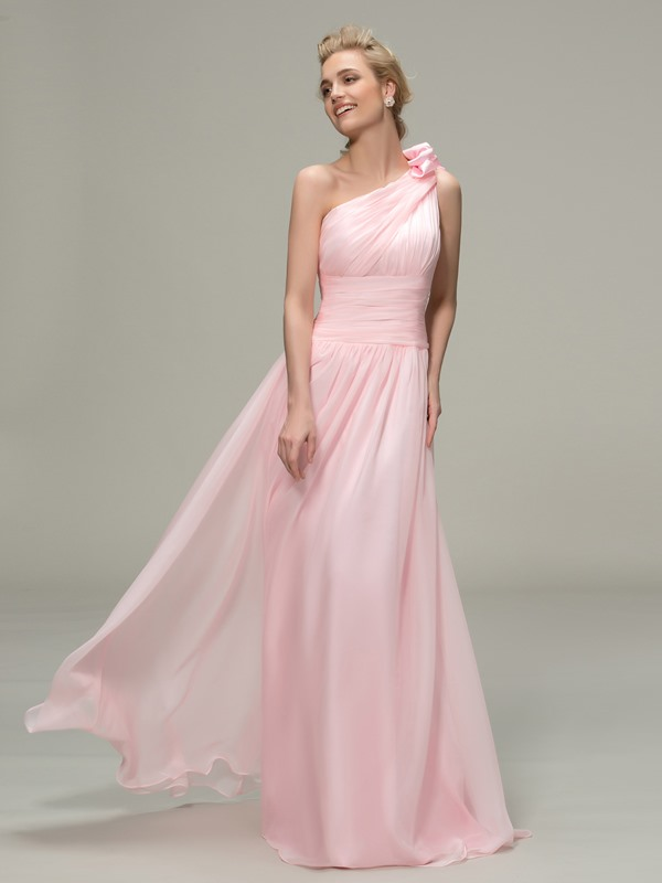 Simple Ruched One Shoulder Long Bridesmaid Dress