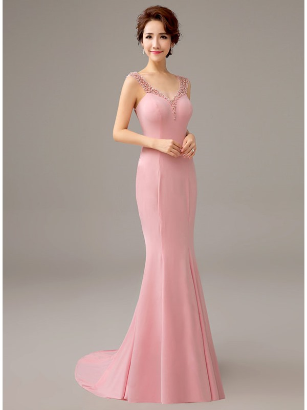 Straps Bowknot Pearls Mermaid Evening Dress(Free Shipping)