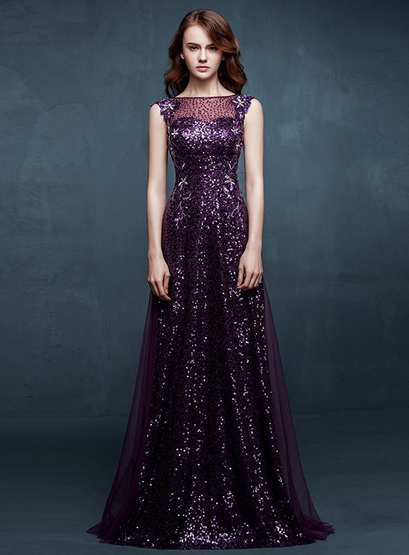 A-Line Bateau Sequins Embroidery Prom Dress