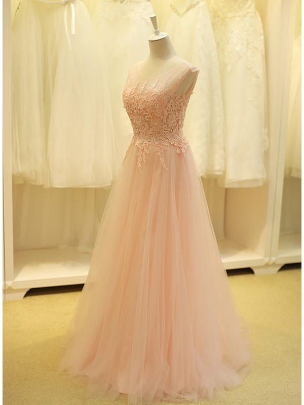 Tidebuy Dramatic Scoop Neck Beading Lace A-Line Long Prom Dress