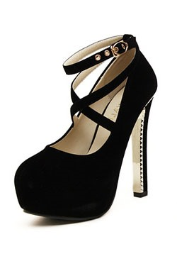 Solid Color Cross Strap Buckled Pumps