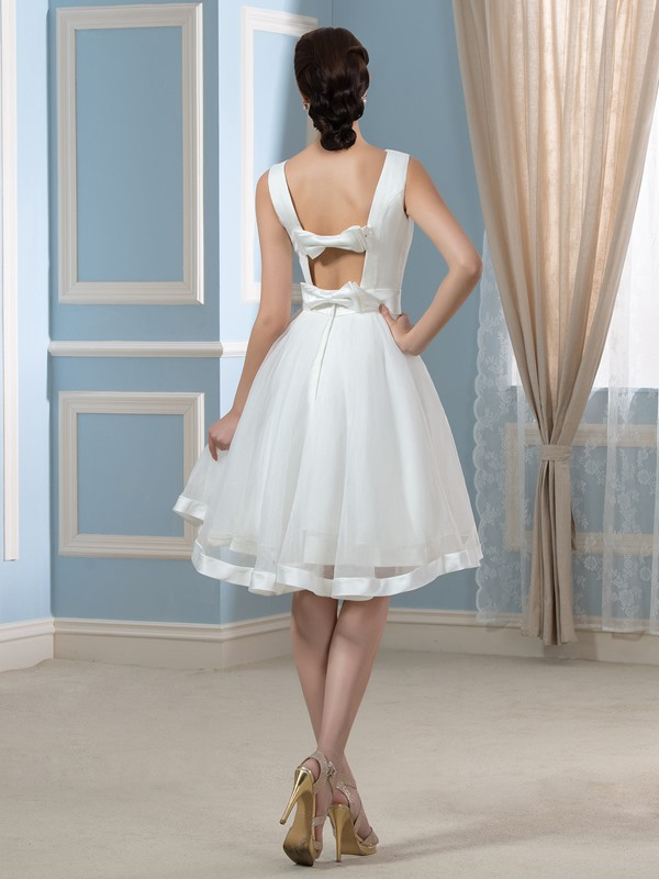 Casual Backless Sleeveless Bowknot Short Wedding Dress