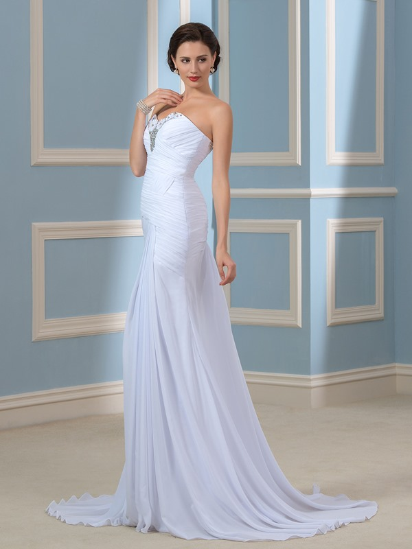 Strapless Beaded Column/Sheath Pleated Beach Wedding Dress