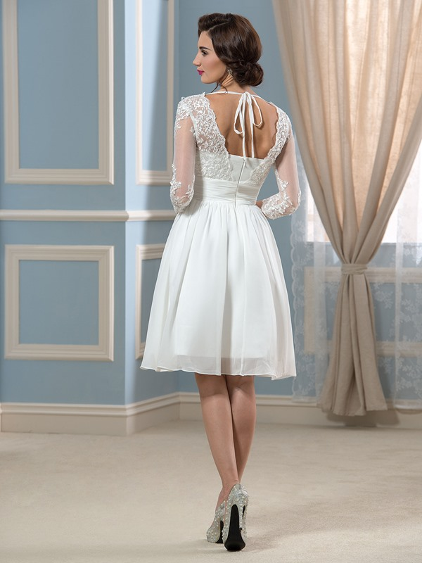 3/4-Length Sleeve Appliques Short Beach Wedding Dress(Free Shipping)