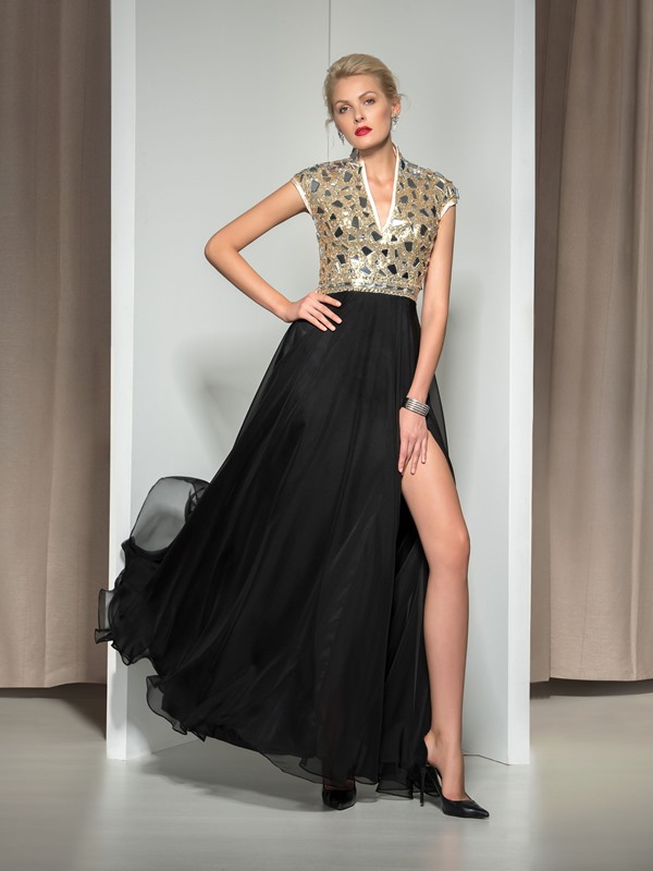 V-Neck Split-Front Beaded Long Evening Dress(Free Shipping)