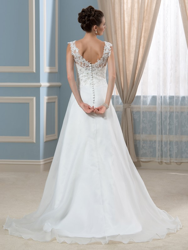 Simple  Court V-Neck A-Line Wedding Dress(Free Shipping)