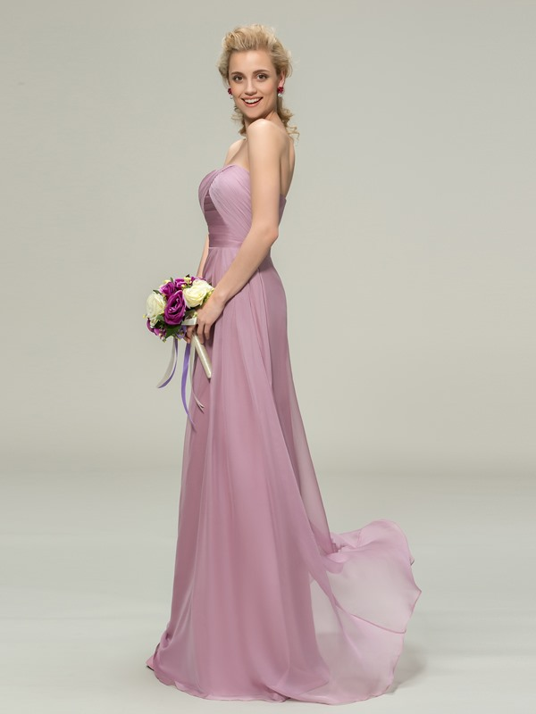 Plain Strapless Pleats Sheath Long Bridesmaid Dress