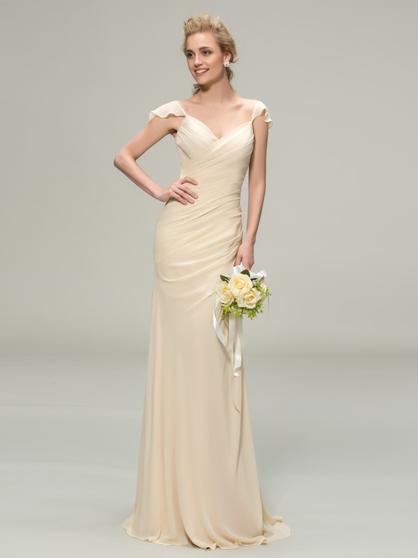Eye-catching V-Neck Cap Sleeve Sheath Long Bridesmaid Dress
